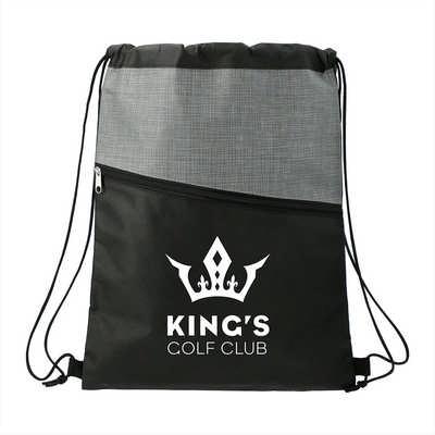 Cross Weave Zippered Drawstring Bag (SM-5803_BUL)