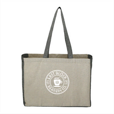 Recycled Cotton Contrast Side Shopper Tote (SM-7218_BUL)