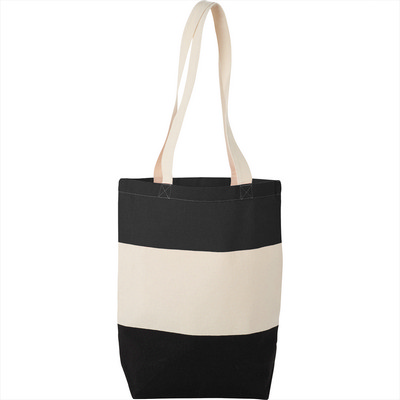 8oz Cotton Canvas Color Block Tote (SM-7228_BUL)