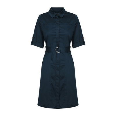 Womens Marine Riley Womens Sateen Belted Shirtdress - Marine (1894WD-Mar_GLO)