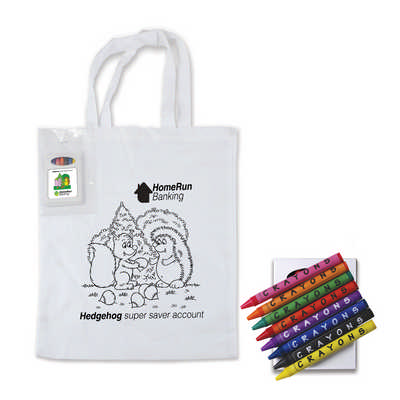 Colouring Short Handle Cotton Bag & Crayons (LL5520_LLPRINT)