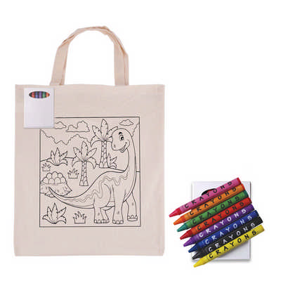 Colouring in Calico Short Handle Calico Tote Bag with Crayons (LL5522_LLPRINT)