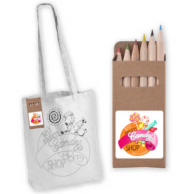 Colouring Long Handle Cotton Bag & Pencils (LL5524_LLPRINT)