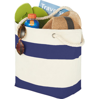 Capri Stripes Cotton Shopper Tote (5158BL_RNG_DEC)