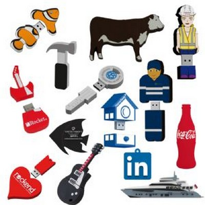 2D Custom Shape USB Flash Drive (USB2DPVC_RNG_DEC)