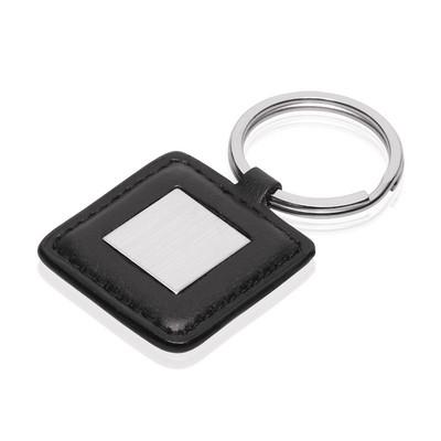 Leather-Look / Metal Square Keyring (KR137_GLOBAL)