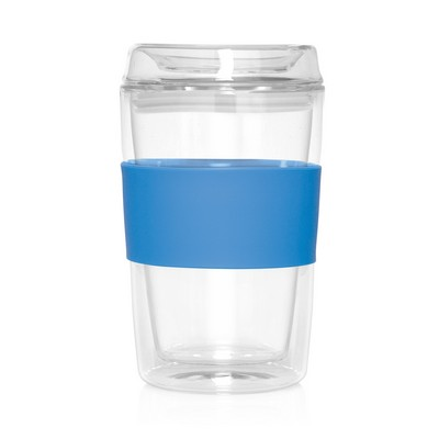 Eco Coffee Cup Glass Lid Double Wall Cup2Go 300ml - (printed with 1 colour(s)) - (M309A_GL_DEC)