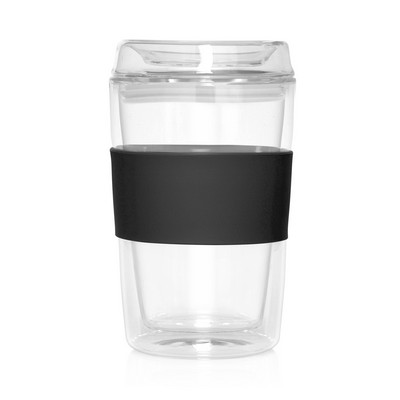 Eco Coffee Cup Glass Lid Double Wall Cup2Go 300ml (M309C_GL_DEC)