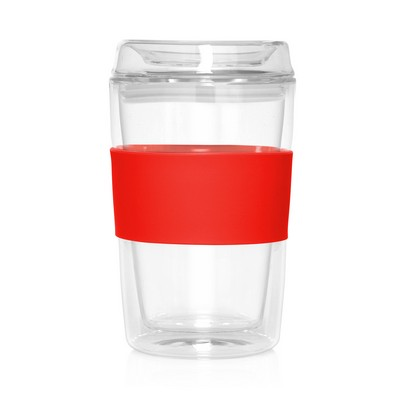 Eco Coffee Cup Glass Lid Double Wall Cup2Go 300ml (M309D_GL_DEC)
