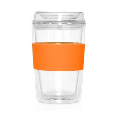 Eco Coffee Cup Glass Lid Double Wall Cup2Go 300ml (M309F_GL_DEC)