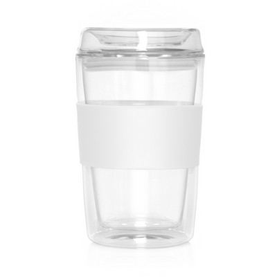 Eco Coffee Cup Glass Lid Double Wall Cup2Go 300ml (M309G_GL_DEC)