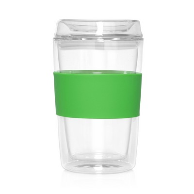 Eco Coffee Cup Glass Lid Double Wall Cup2Go 300ml (M309I_GL_DEC)