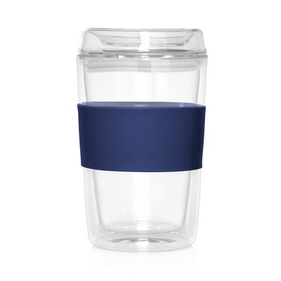 Eco Coffee Cup Glass Lid Double Wall Cup2Go 300ml (M309M_GL_DEC)