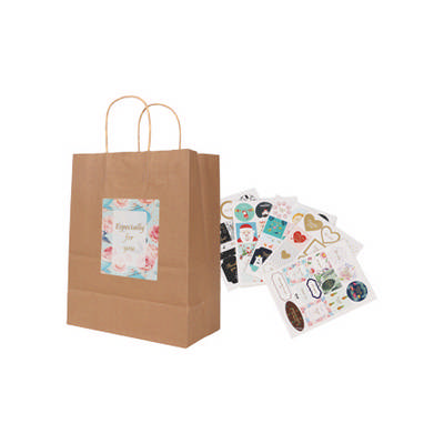 Twisted Handle Kraft Paper Bag(220x270x110mm) (PCPB011_PC)