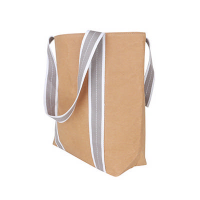 Small Washable Kraft Paper Bag with Cotton Handle(390x330x105mm) (PCPB184_PC)