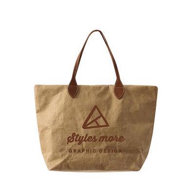 Washable Kraft Paper Bag with PU Handle(390x330x100mm) (PCPB186_PC)