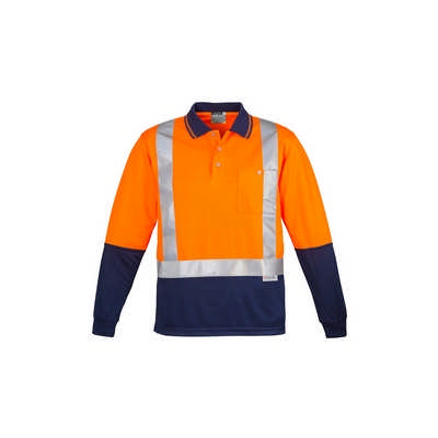 Mens Hi Vis Spliced Polo - Long Sleeve Shoulder Taped (ZH234_SYZM)