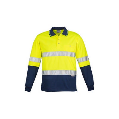 Mens Hi Vis Spliced Polo - Long Sleeve Hoop Taped (ZH235_SYZM)