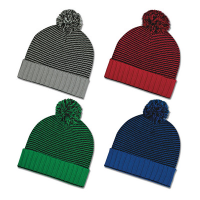 Knit Pom Striped Beanie Cuff (111360_TRDZ)