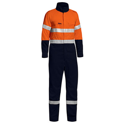 Tencate Flame Retardant Tecasafe Plus Taped Two Tone Hi Vis Lightweight Fr Non Vented Engineered Coverall With Zip C BC8177T_BSY