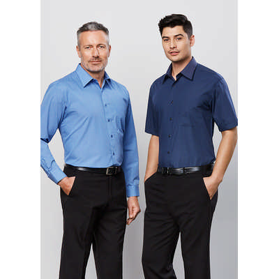 Mens Micro Check Long Sleeve Shirt (SH816_BIZ)