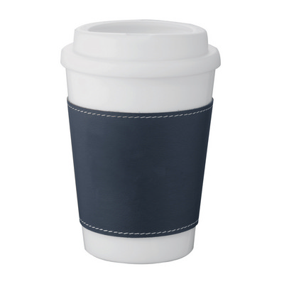 Double-Walled White Tumbler - Blue Sleeve