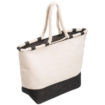Zippered Canvas Tote Bag - Black