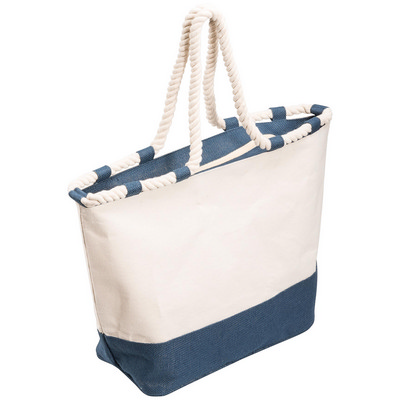 Zippered Canvas Tote Bag - Blue