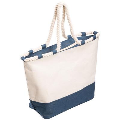 Zippered Canvas Tote Bag - Blue (5047BL_BMV)