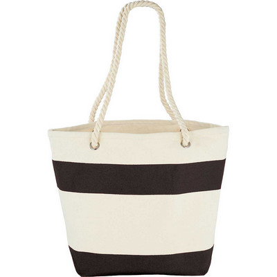 Capri Stripes Cotton Shopper Tote - black (5158BK_BMV)