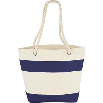 Capri Stripes Cotton Shopper Tote - Blue (5158BL_BMV)