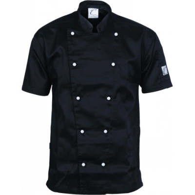 200gsm Polyester Cotton Traditional Chef Jacket, S/S, 10 Matching colour buttons included 1101_DNC