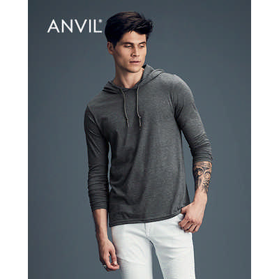 Anvil Adult Lightweight Long Sleeve Hooded Tee Colours