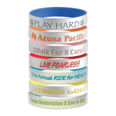 Silver Silicone Bracelets - (printed with 1 colour(s)) OCC52_OC