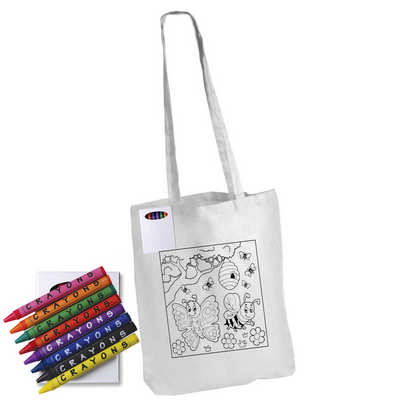Colouring in Long Handle Cotton Tote Bag with Crayons (LL5521_LL)