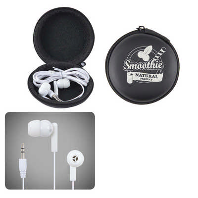 Earbud / Headphone Set in Round EVA Zippered Case (LL6150_LL)