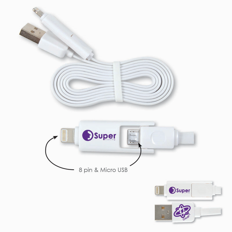2 in 1 Nifty USB Cable - Micro, 8 Pin (LL0112_LLNZ)