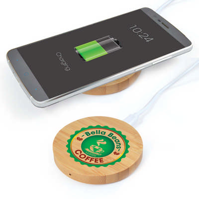 Arc Round Bamboo Wireless Charger  (LL0220_LLNZ)
