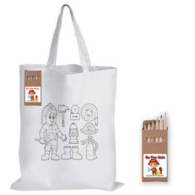 Colouring Short Handle Cotton Bag with Pencils (LL5523_LLNZ)