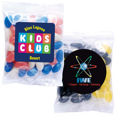Corporate Colour Mini Jelly Beans in 50 Gram Cello Bag - Includes Decoration LL31450_LLPRINT