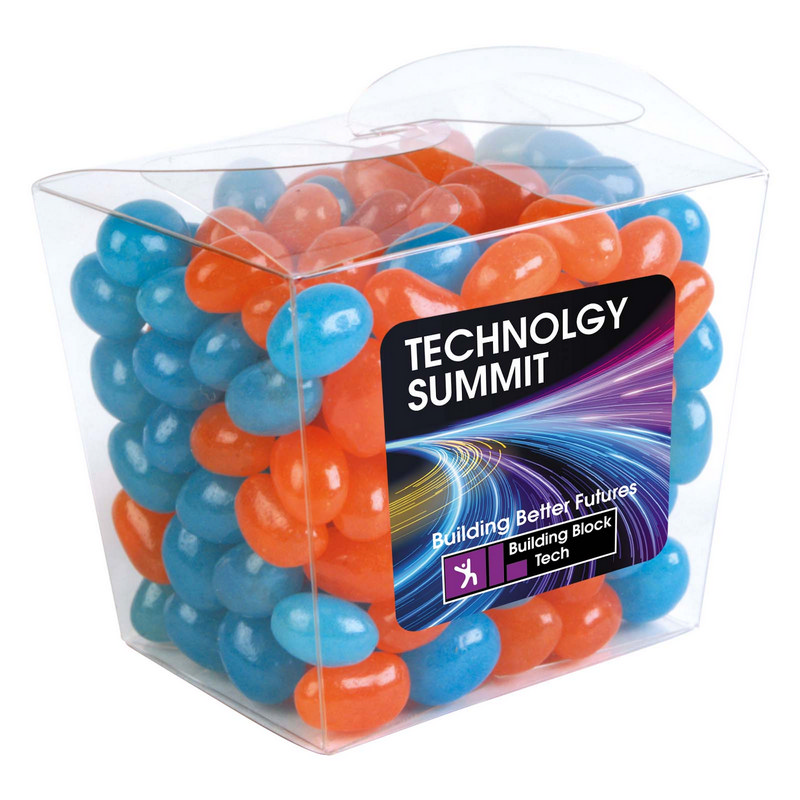 Corporate Colour Mini Jelly Beans in Clear Mini Noodle Box (LL3155_LLPRINT)
