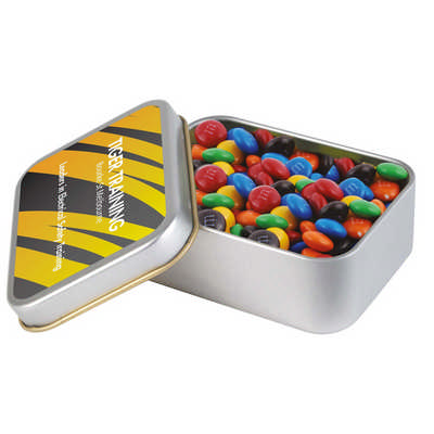 M&M`s in Silver Rectangular Tin (LL33016_LLPRINT)