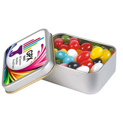 Assorted Colour Mini Jelly Beans in Silver Rectangular Tin (LL334_LLPRINT)