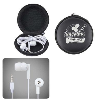Earbud / Headphone Set in Round EVA Zippered Case (LL6150_LLPRINT)