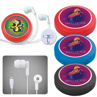 Earphone / Headphone Set in Silicone Case with Cord Retainer (LL6154_LLPRINT)