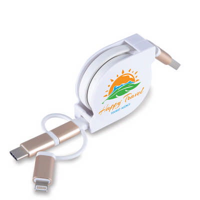 Fury 3 in 1 Retractable USB/8 Pin Connector Cable with Type C (LL9353_LLPRINT)