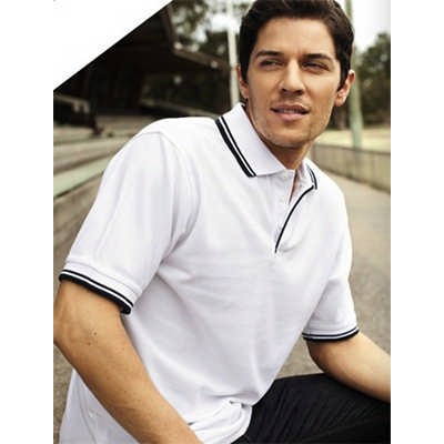 Unisex Adults Double Striped Polo (CP0422_BOC)