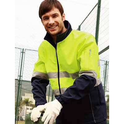 Unisex Adults Hi-Vis Soft Shell Jacket With Reflective Tape (SJ1103_BOC)