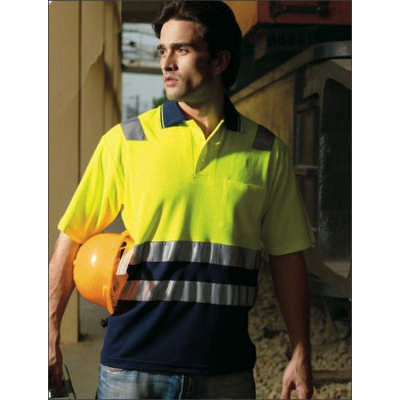 Unisex Adults Hi-Vis Polyface  Cotton Back Polo With Reflective Tape (SP0539_BOC)