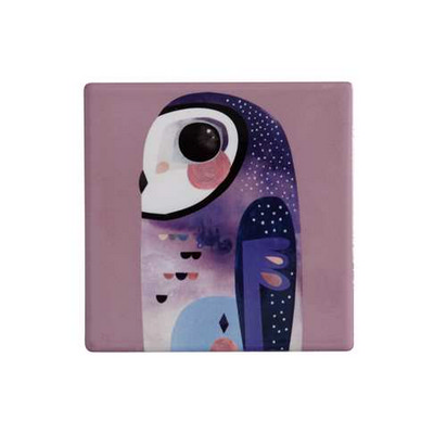 M&W Pete Cromer Ceramic Square Tile Coaster 9.5cm Owl (DU0089_PPI)